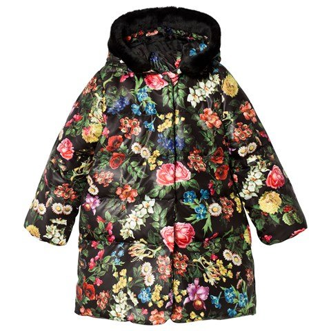 Black Floral Coat with Faux Fur Hood