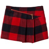 Junior Gaultier Red and Navy Check Asymmetric Skirt
