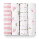 Aden + Anais Pack of 4 Pink Printed Swaddles