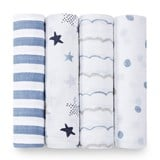 Aden + Anais Pack of 4 Blue Rock Star Print Swaddles