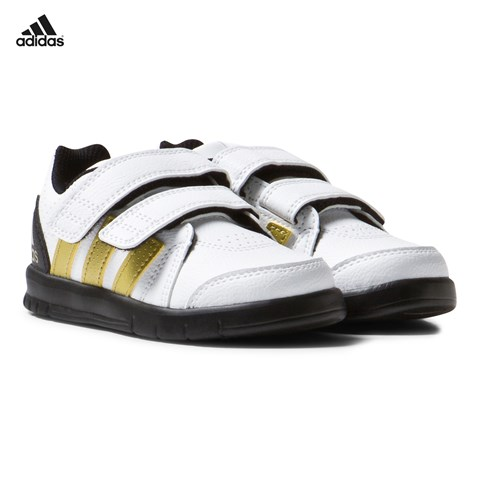 White and Gold Velcro Trainers
