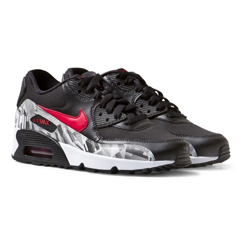 Black and Red Air Max 90 Prined Mesh Trainers