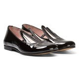 Minna Parikka Black Patent Leather Bunny Ears Loafers