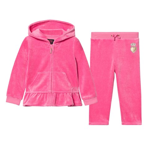 Hot Pink Glitter Scotty Dog Ruffle Velour Tracksuit