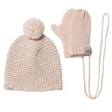 UGG Pink Knitted Pom Pom Hat and Mittens Set
