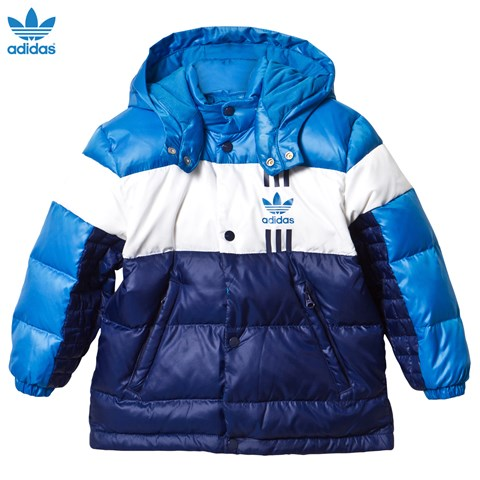 Blue Colour Block Quilted Down Jacket