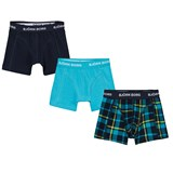 Bjorn Borg Pack of 3 Check, Navy and Tuquoise Branded Trunks