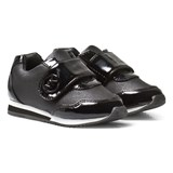 Michael Kors Black Branded Patent Velcro Trainers