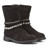 Stuart Weitzman Black Suede and Diamante Ankle Boots