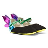 Sophia Webster Mini Black Suede and Fluro Chiara Baby Butterfly Shoes