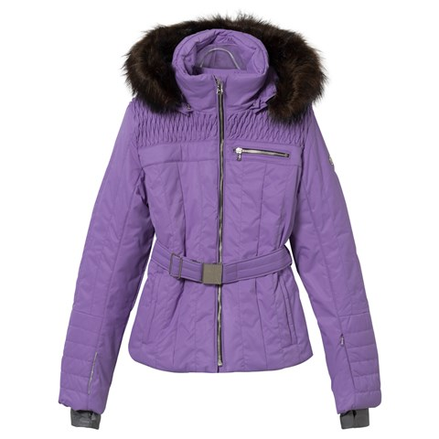 Purple Belted Ski Jacket with Faux Fur Trim
