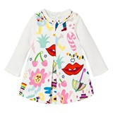 Simonetta White Cartoon Print Milano and Woven Dress