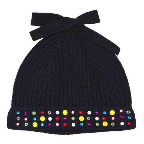 Simonetta Navy Knitted Embellished Beanie Hat  ab857a822b83