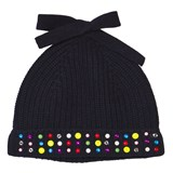 Simonetta Navy Knitted Embellished Beanie Hat