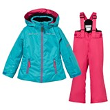 Phenix Turquoise and Pink Eternal Flame Ski Set