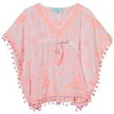 Melissa Odabash White and Pale Pink Embroidered Pom Pom Kaftan