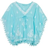 Melissa Odabash White and Sky Blue Embroidered Pom Pom Kaftan