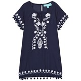 Melissa Odabash White with Navy Embroidery Pom Pom Dress