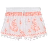 Melissa Odabash White and Coral Embroidered Pom Pom Shorts