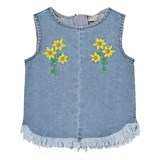 Stella McCartney Kids Denim Violetta Sleeveless Top with Embroidered Flowers