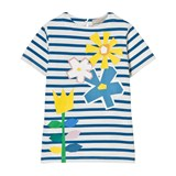 Stella McCartney Kids Blue and White Stripe Isabella Tee with Flower Print