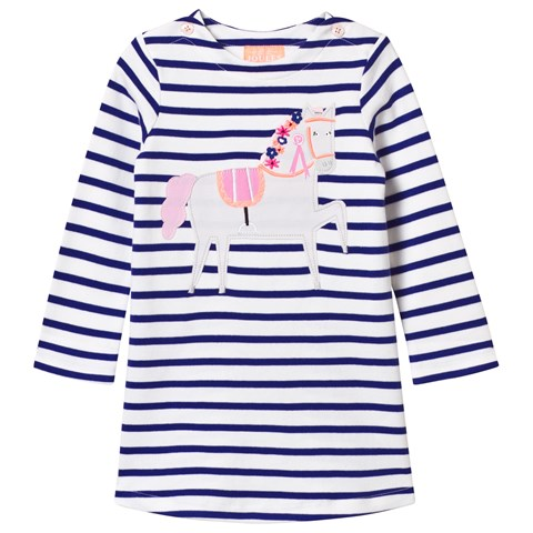Joules Navy and White Stripe Horse Applique Dress
