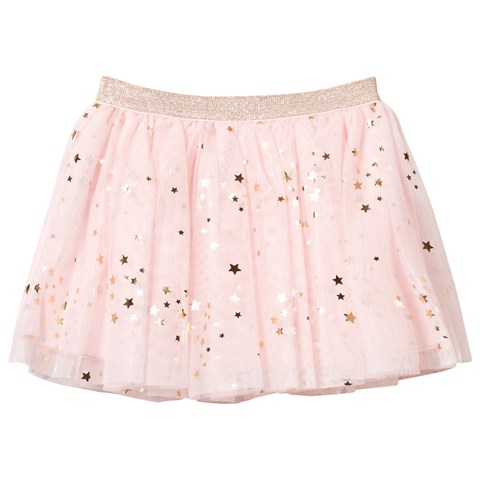 Pink Star Print Tulle Skirt with Glitter Waistband