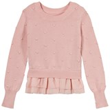 Bloch Pink Bubble knitted Peplum Hem Sweater
