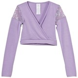 Mirella Lilac Sequin Tulle Insert Mock Wrap Top