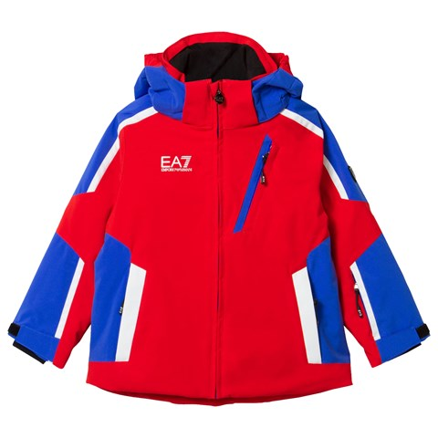 Red and Blue Klingler Colour Block Ski Jacket