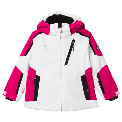 White Klingler Colour Block Ski Jacket