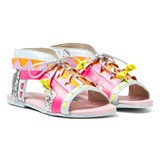 Sophia Webster Mini Fluro Pink and Silver Glitter Riko Sandals