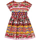Dolce & Gabbana Majolica Print Dress with Bow Belt Detail