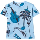 Dolce & Gabbana Blue Musical Instrument Print Tee with Palm Tree Applique