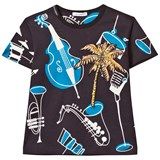 Dolce & Gabbana Navy Instrument Print and Palm Tree Applique Tee