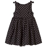 Dolce & Gabbana Black Spot Cotton Dress with Bow Shoulder Detail