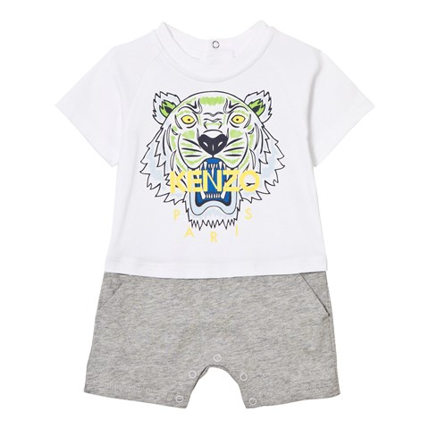 Kenzo Kids White and Grey Tiger Print Jersey Romper