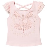 Kate Mack - Biscotti Pink Butterfly Print Tee with Cross-Over Back
