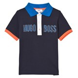 BOSS Navy and Orange Branded Pique Polo