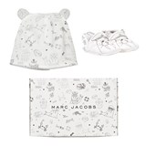 Little Marc Jacobs White and Black Walrus Print Booties and Hat Set