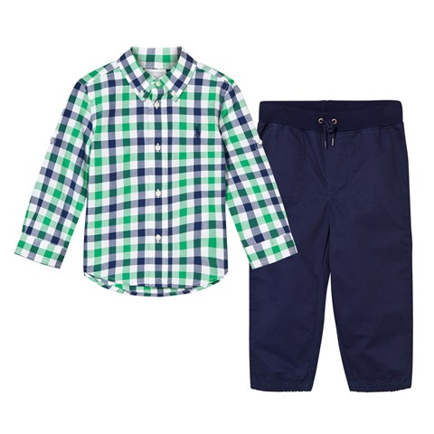 Green Check Poplin Shirt and Navy Chinos Set