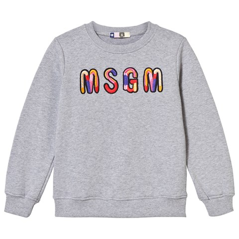 MSGM Grey Marl Embroidered Logo Sweatshirt
