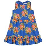 MSGM Blue Floral Frill Detail Dress