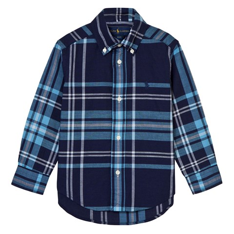 Navy and Blue Check Linen Shirt