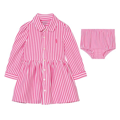 Pink Candy Stripe Jersey Shirt Dress with Knickers