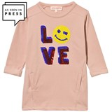 Anne Kurris Pink Sequin Love and Smiley Sweater Dress
