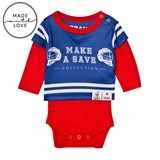The BRAND Make A Save Red and Blue Long Sleeve Onesie