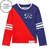 The BRAND Make A Save Red and Blue Diagonal Tee