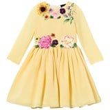 Love made Love Yellow Chiffon Floral Embroidered Dress
