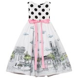 Love made Love Black and White Polkadot 3D Paris Print Tulle Dress